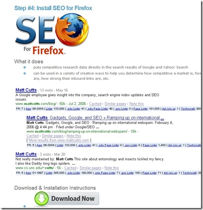 Install SEO for FirefoxのDownload Nowをクリック