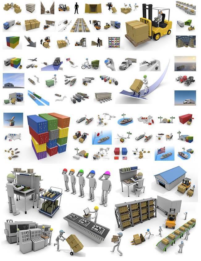 働く人・倉庫・貿易・輸送のイラスト素材